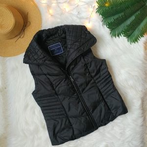 Tommy Hilfiger Black Collared Puffer Vest Size S